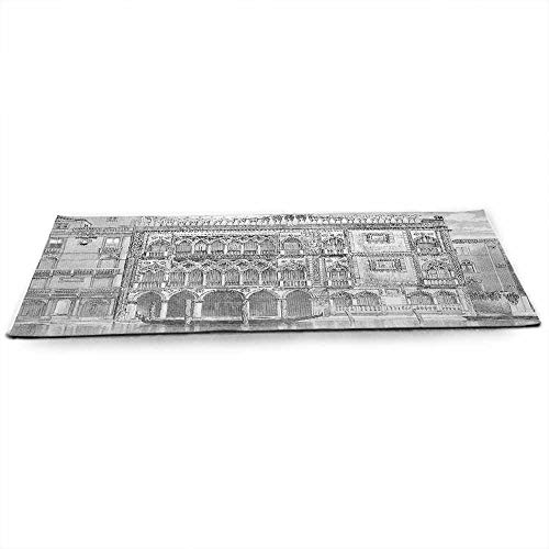 Antique Eco Friendly Yoga Mat 19th Century Engraving of Grand Canal Venice Monument Landmark Illustration Print for All Types of Yoga, Pilates & Floor Exercises W24 x L70 Black White ()