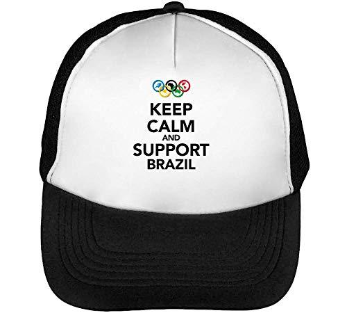 Keep Calm Support Brazil Gorras Hombre Snapback Beisbol Negro Blanco
