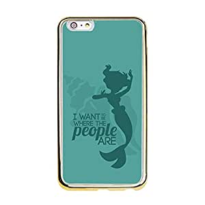 Classic Disney Cartoon The Little Mermaid Phone Case Snap On Iphone 6 Plus/6S Plus (5.5 inch) Fashion Cute Gold Frame & TPU The Little Mermaid Mobile Phone Case Cover