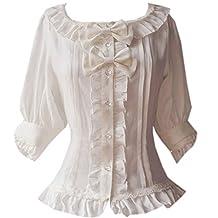 Partiss Womens Classic Half Sleeves Sweet Chiffon Lolita Blouse Bowknots Shirt