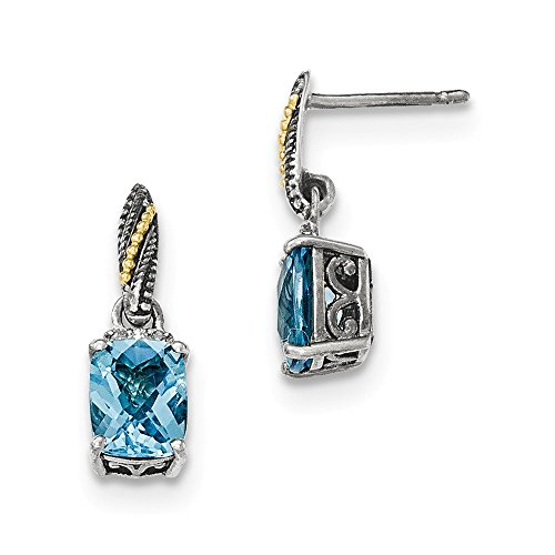 Sterling Silver w/14K Diamond and Blue Topaz Dangle Post Earrings by CoutureJewelers