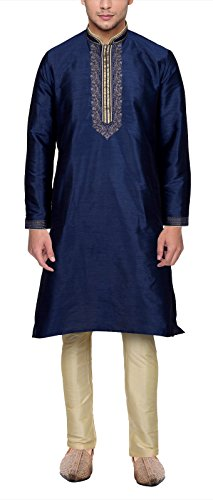 Maharaja Mens Raw Silk Embroidered Festive Kurta Pyjama Set in Blue - Kurta Mens