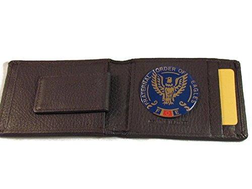 FOE FRATERNAL ORDER OF EAGLES HIGH GRAIN BROWN LEATHER WALLET CARD HOLDER OUTSIDE ID INSIDE MONEY CLIP