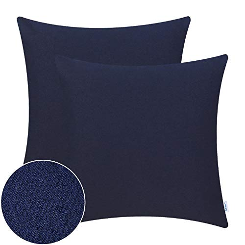 CaliTime Pack of 2 High Class Comfy Throw Pillow Covers Cases for Couch Sofa Bed Bedding Thick Two Tone Texture Both Sides 18 X 18 Inches Dark Navy