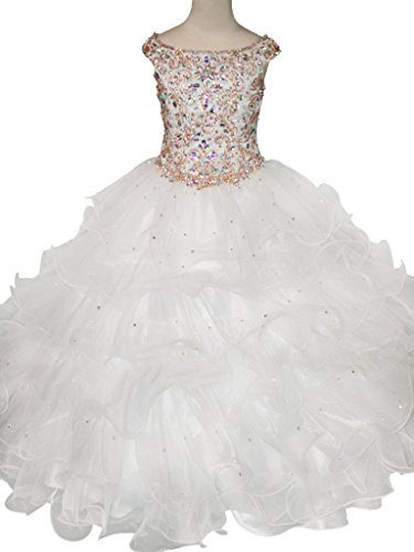 JinJia Girls Red Beaded Bodice Pageant Dresses Layred Ball Gowns 8 US (White Beaded Bodice)