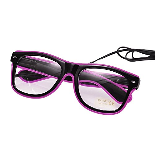 Luminous Glasses, XGZ LED Light Up Fashion Glasses EL Wire Led Glasses Colorful Fashion Neon Props Shining Accessories for Parties, Costume, Ball, Disco Clubs, Halloween (Purple)