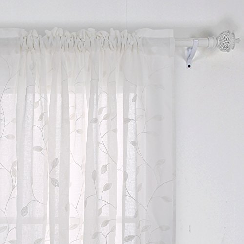 Deconovo Floral Sheer Curtains Embroidered Leaves Patterned Semi Faux Linen Rod Pocket Curtains for Living Room 52x84 Inch ()