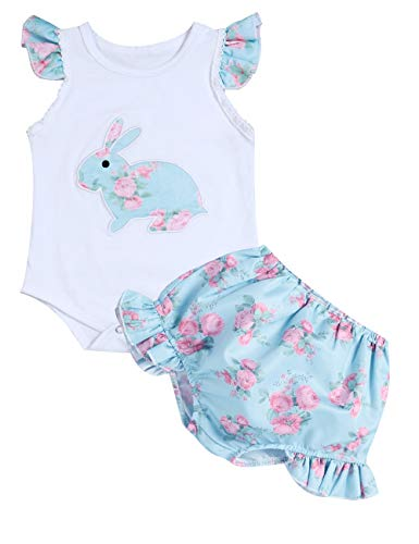 Easter Bunny Outfit ( Newborn Easter Outfit Baby Girl Bunny Romper+ Floral Tutu Short Clothing)