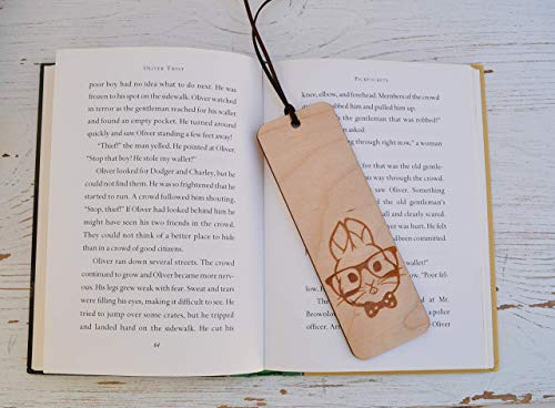 Wooden Bookmark - Laser cut Hipster Easter Bunny ()