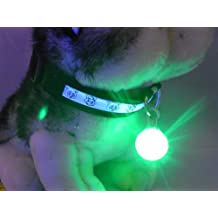 Sunny Brook Spotlit LED Flashing Safety Night Light Dog Buckle Tag Clip Collar Bell Circular Blinker Luminous Pendant (Green)