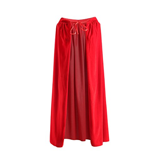 Hooded Cloak, Long Velvet Cape Fancy Robe for Knight Vampire Witch Halloween Christmas Cosplay Costume