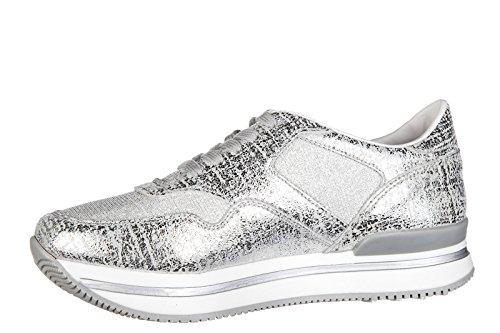 Hogan scarpe sneakers bimba bambina pelle nuove j222 allacciato argento