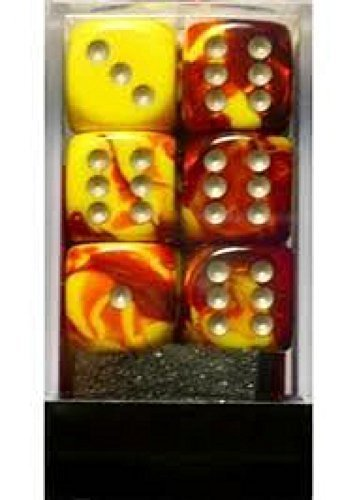 (Chessex Dice d6 Sets: Gemini Red & Yellow with White - 16mm Six Sided Die (12) Block of Dice)