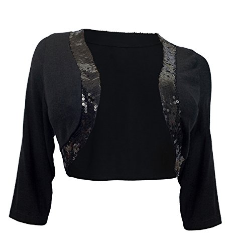 EVogues Plus Size Sequin Trim 3/4 Sleeve Cropped Bolero Shrug Black - 3X