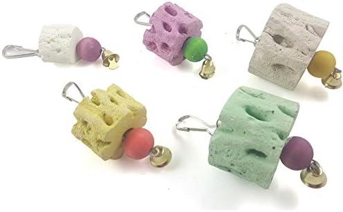 YZBear Pet Hamster Rabbit Chinchilla Parrot Bird Teeth Grinding Stone String Chew Toy 3 Sizes Random Color