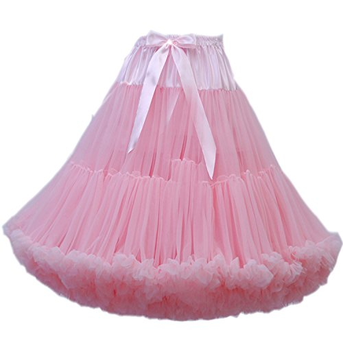 (FOLOBE Women's Knee Length 50s Soft Puffy Tutu Skirts Ballet Costume Tulle Underskirts (24 Colors) Pink)