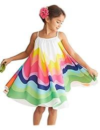SUPEYA Toddler Baby Girls Sleeveless Sundress Rainbow Print Straps Pleated Maxi Dress