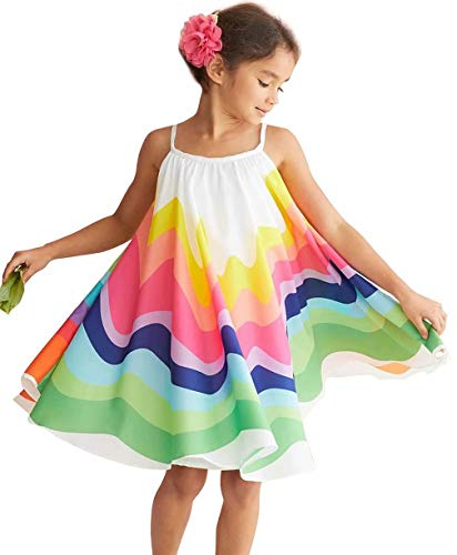 BANGELY Rainbow Dress for Girls Summer Stripe Spaghetti Beach Boho Sundress Vacation Casual Straps Tutu Dresses Size 5-6 Years/Tag130 (White)