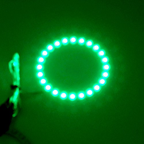 2PCS x Car Led Headlight 60mm 3528 18-SMD Angel Eyes Halo Ring Light (Green)