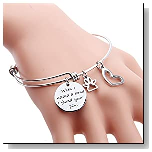 ENSIANTH When I Needed A Hand I Found Your Paw Bracelet Expandable Wire Bangle with Paw Print Charms for Dog Lovers (Paw Print Bracelet)