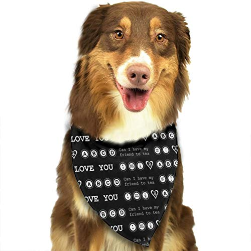 OURFASHION Typewriter I Love You Bandana Triangle Bibs Scarfs Accessories for Pet Cats and Puppies -