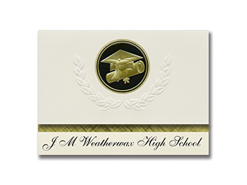 (Signature Announcements J M Weatherwax High School (Aberdeen, WA) Graduation Announcements, Presidential style, Elite package of 25 Cap & Diploma Seal Black & Gold)