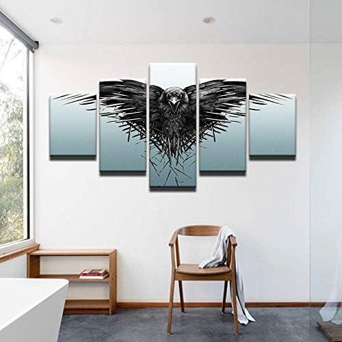 キャンバスポスター壁アート家の装飾抽象グレーイーグル絵画用リビングルームプリント動物鳥写真40X60Cmx2 40X80Cmx2 40X100Cmx1なしフレーム