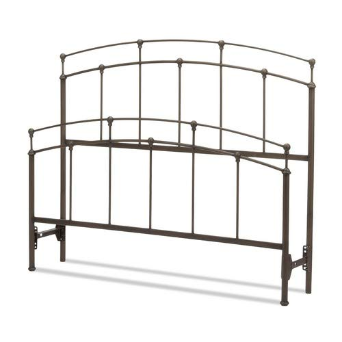 Fashion Bed Group 5/0 Fenton Complete Bed with Metal Duo Panels and Globe Finials, Black Walnut Finish, Queen,