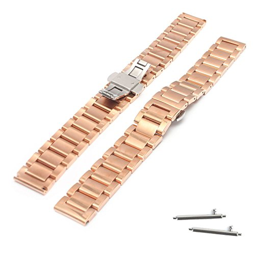 18mm Stainless Steel Butterfly Buckle Link Watch Band For Hu