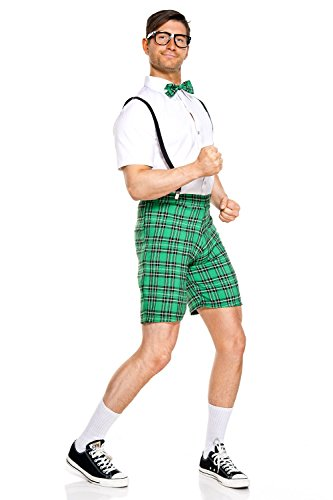 Class Nerd Costumes (4 PC. Men's Classroom Nerd School Costume Set - Medium - White/Green)
