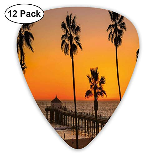 Guitar Picks 12-Pack,Photo Of Palm Trees At Manhattan Beach In Los Angeles Sunset Silhouette Art