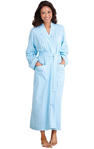 PajamaGram 100% Cotton Pin Dot Robe for Women, Blue, Medium/Large (8-14) -