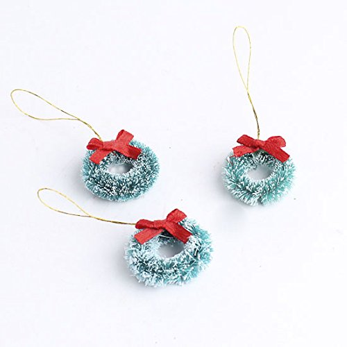 Christmas Mini Wreath - 1 inch Miniature Frosted Sisal Christmas Wreaths with Red Bows 18 Total Mini Wreaths