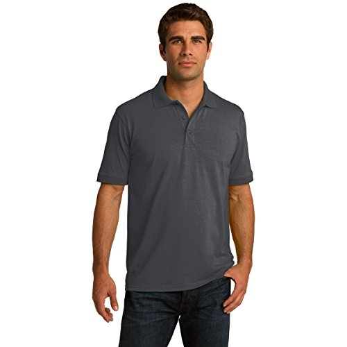Clothe Co. Mens Big & Tall Short Sleeve Jersey Knit Polo Shirt, 3XLT, Charcoal (Short Sleeve Knit Polo Shirt)