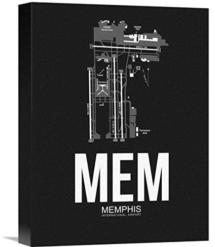 "Naxart Studio MEM Memphis Airport Black Giclee on Canvas, 12"" by 1.5"" by 16"" from Naxart Studio"