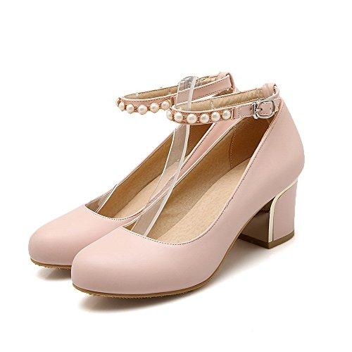 AgooLar Damen Eingelegt PU Mittler Absatz Rund Zehe Schnalle Pumps Schuhe Pink