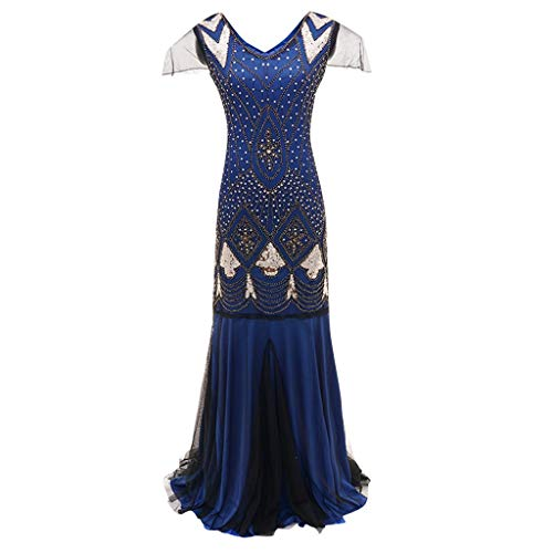 Clearance Renaissance Dress,Forthery Women's 1920s V Neck Sequin Mermaid Gatsby Theme Flapper Dress for Formal Gown(Blue,S)]()