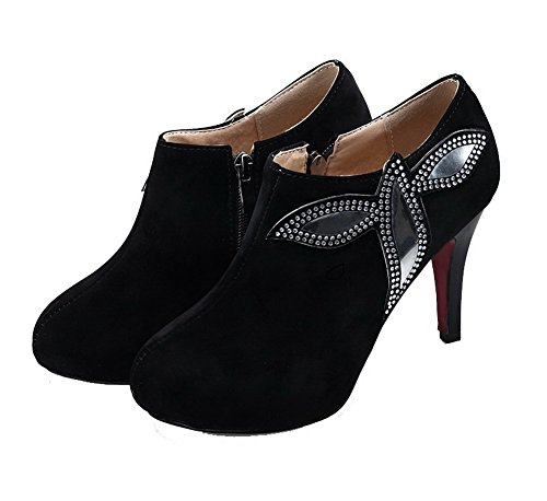 High Black Zipper Frosted Women's Odomolor Toe shoes heels Solid Pumps Closed Round TUtP8q