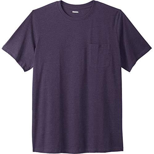 KingSize Men's Big & Tall Shrink-Less Lightweight Pocket Crewneck T-Shirt, Heather Dark Purple Big-5XL
