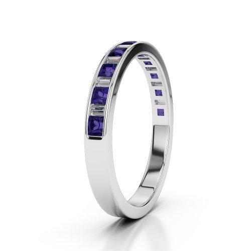 Or blanc 18carats 0,30CT G-H/VS Certifié Coupe ronde tanzanite et diamants Agdr-1142