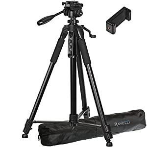 Ravelli APLT6 72 Inch Aluminum Tripod with Carry Bag Includes Universal Smartphone Mount