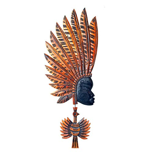 Zehaer Sculpture Ornaments Mask Jewelry Decoration, Retro Creative African Characters, Beech Wood Mosaic Wall Decorations, Living Room, Exotic Style Pendant (Color : 2#)