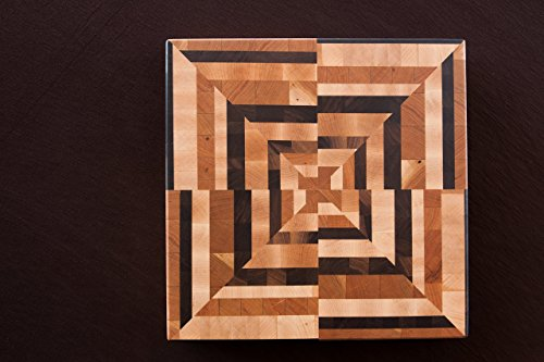 Chopping Blox Wood End Grain Square Cutting Board with Abstract Pattern - Model ABXB-C