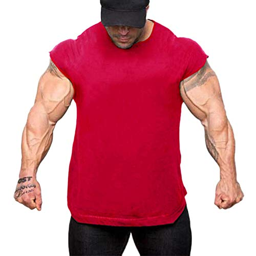 Men Summer Fall Cap Sleeve Short Sleeve T Shirt Fitness Slim Fit Top Blouse by Lowprofile Red