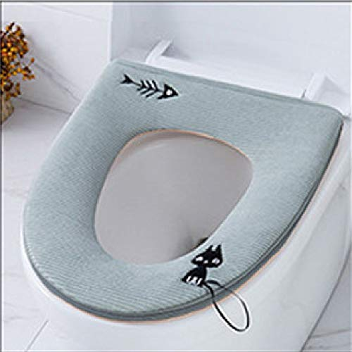Flurries Zipped Toilet Seat Cover Pads with Strap Handy Handle Lifter Hanging - Universal Soft Washable Warmer Thicker Winter Mat Cushion Lid Cover Case Protector Closestool (Green)