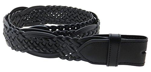 Braided Leather Belt Strap with Woven Pattern (Black-M)
