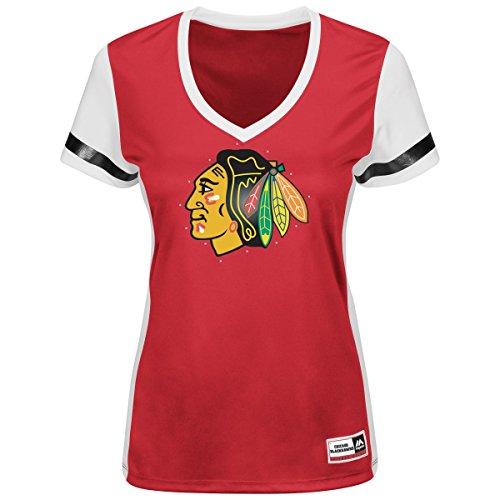 "Chicago Blackhawks Women's Majestic NHL ""Shutdown"" V-neck Fashion Top Shirt"