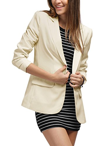 Allegra K Women Peaked Lapel One Button Closure Boyfriend Blazer XL (Button Closure Blazer)