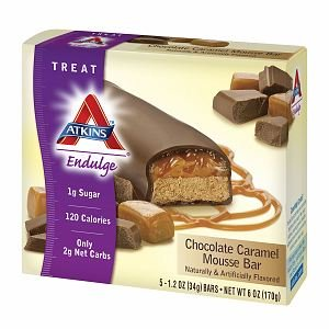 Atkins Endulge Treats, 5 pk, Chocolate Caramel Mousse 1.2 oz (34 g))- pack of 3 Chocolate Mousse Bar
