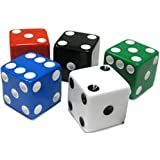Custom & Unique {Assorted XL Big Large 25mm} 5 Ct Pack Set of 6 Sided [D6] Square Cube Shape Playing & Game Dice Made of Plastic w/ Rounded Corner Edges w/ Classic Design [Green, Black, Red & Blue]